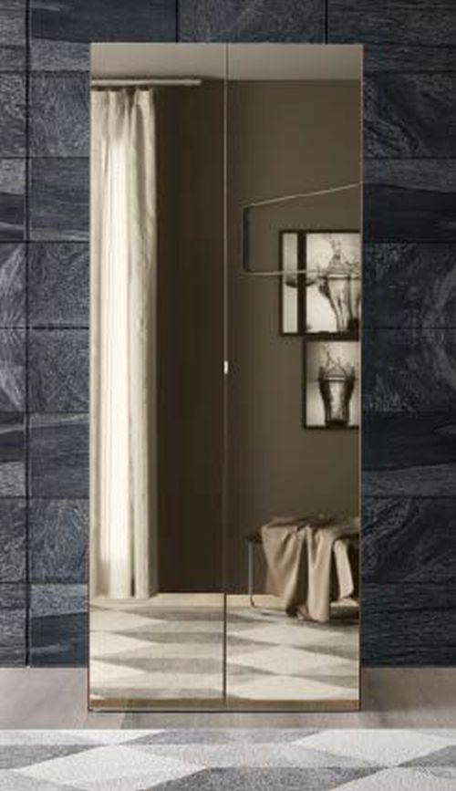 Camel Storm Night Wooden Italian 2 Door Wardrobe with Mirror