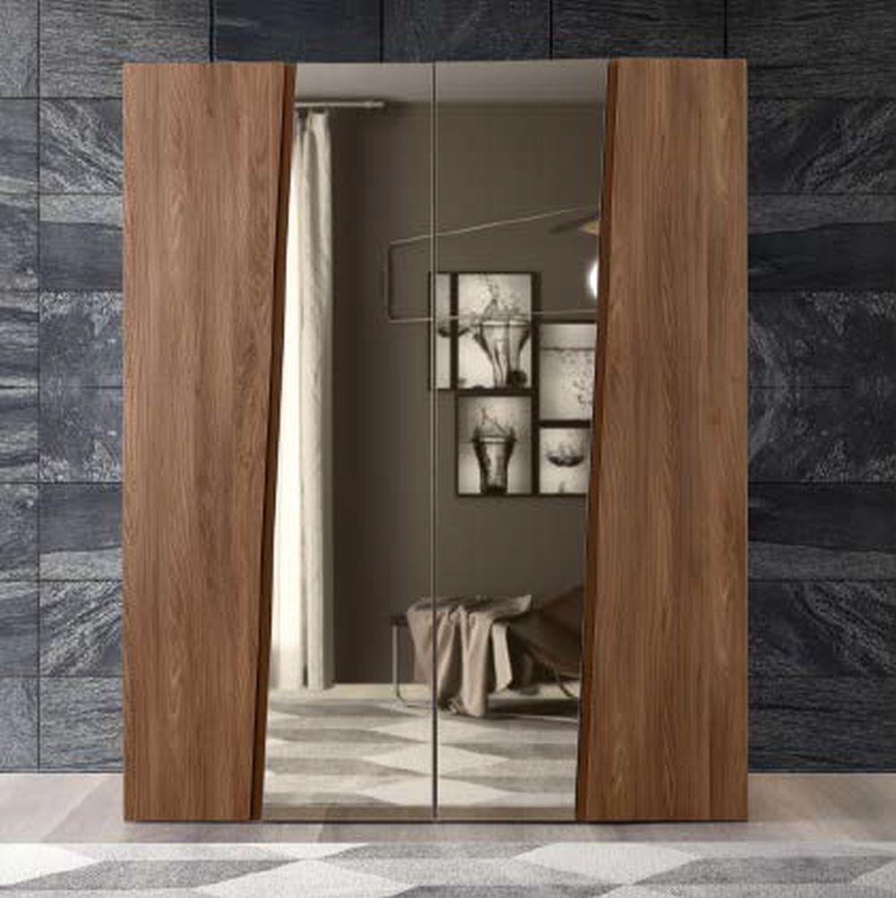 Camel Storm Night Wooden Italian 4 Door Wardrobe with Mirror