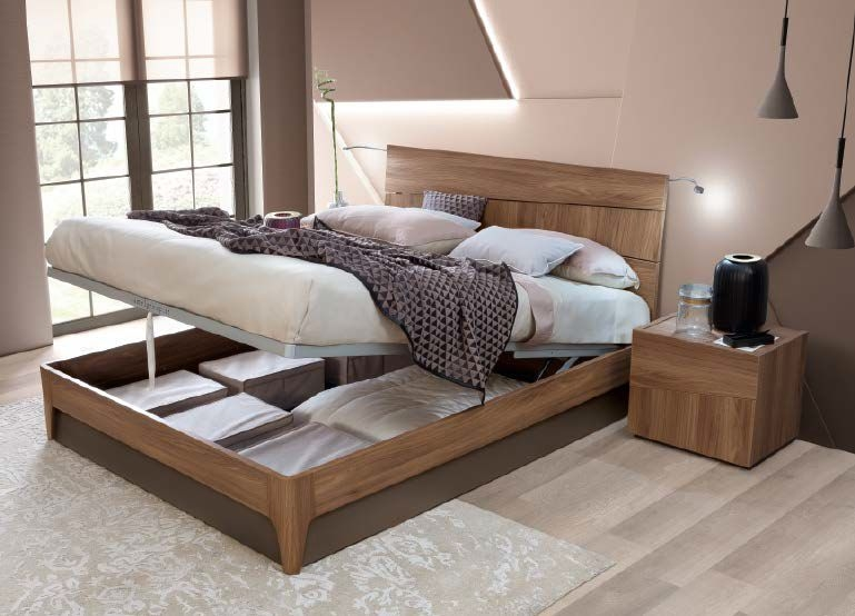 Camel Letto Storm Luna Wooden Italian Storage Bed