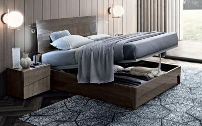 Camel Tekno Night Silver Birch Italian Bed with Luna Storage