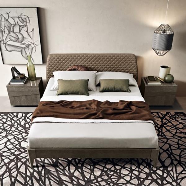 Camel Tekno Night Silver Birch Italian Saturno Bed with Luna Storage