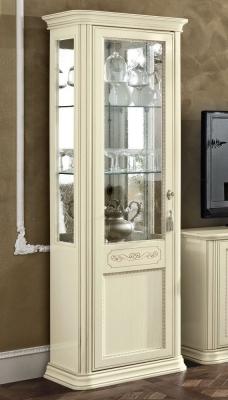 Camel Torriani Day Ivory Italian 1 Left Glass Door Vitrine with LED Light