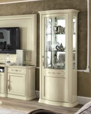 Camel Torriani Day Ivory Italian 1 Right Curved Glass Door Vitrine with LED Light