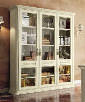 Camel Torriani Day Ivory Italian 3 Glass Door Bookcase