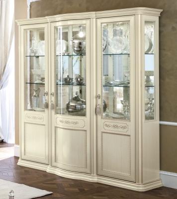 Camel Torriani Day Ivory Italian 3 Glass Door Vitrine with 3 LED Light - W 191cm