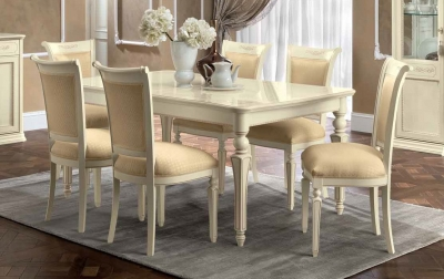 Camel Torriani Day Ivory Italian Extending Dining Table and Chairs