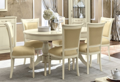 Camel Torriani Day Ivory Italian Oval Extending Dining Table and Chairs