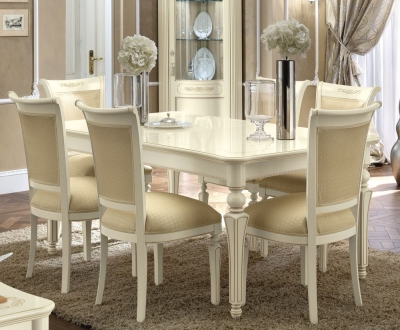 Camel Torriani Day Ivory Italian Extending Dining Table and 6 Chairs