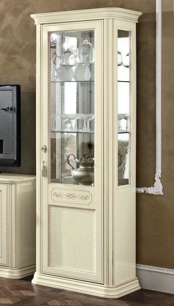 Camel Torriani Day Ivory Italian 1 Glass Door Vitrine - W 67cm