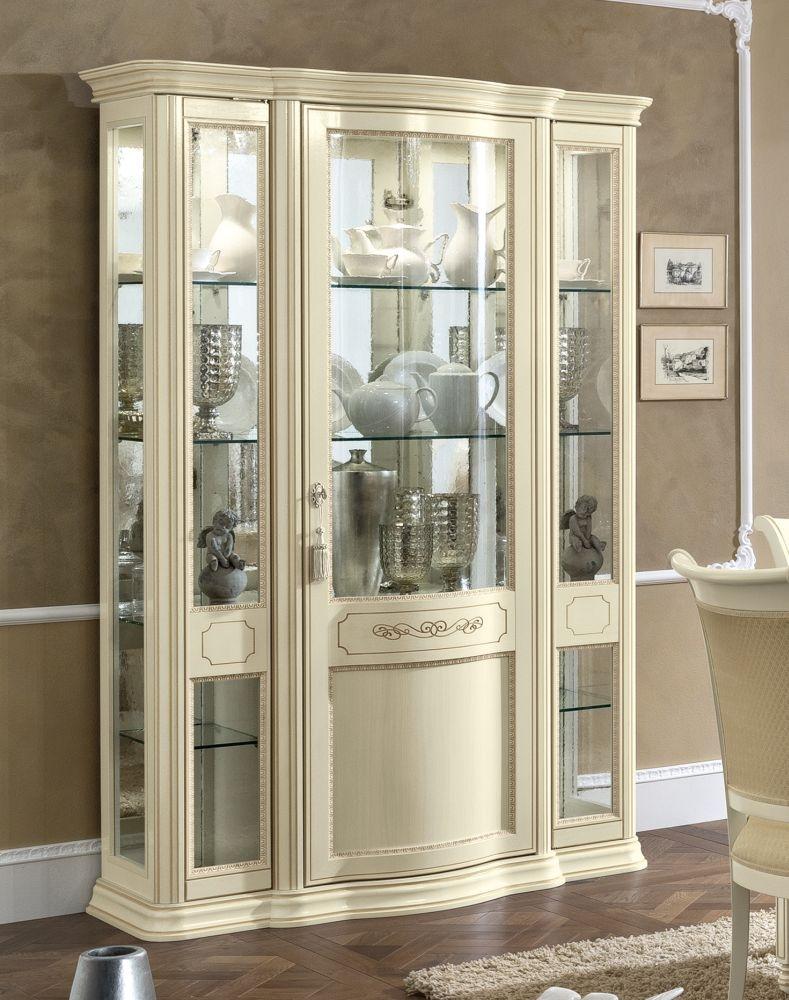 Camel Torriani Day Ivory Italian 3 Glass Door Vitrine with 3 LED Light - W 130cm