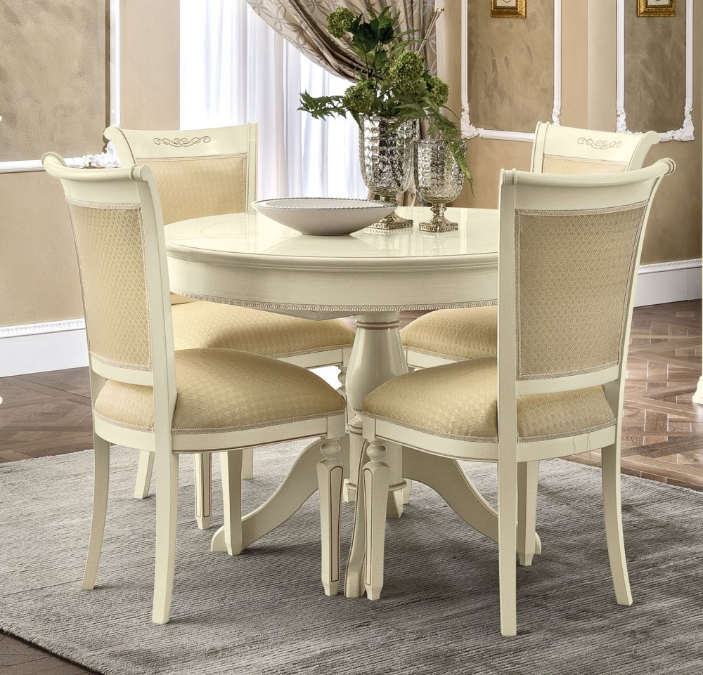 Camel Torriani Day Ivory Italian Round Extending Dining Table and 4 Chairs