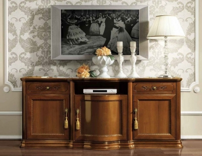 Camel Torriani Day Walnut Italian Large TV Cabinet