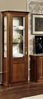 Camel Torriani Day Walnut Italian 1 Left Glass Door Vitrine with LED Light