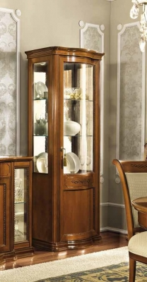 Camel Torriani Day Walnut Italian 1 Right Curved Glass Door Vitrine with LED Light