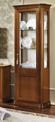 Camel Torriani Day Walnut Italian 1 Right Glass Door Vitrine with LED Light
