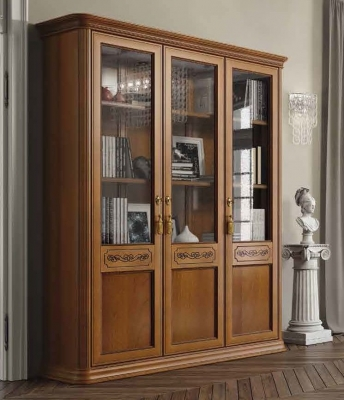 Camel Torriani Day Walnut Italian 3 Door Bookcase