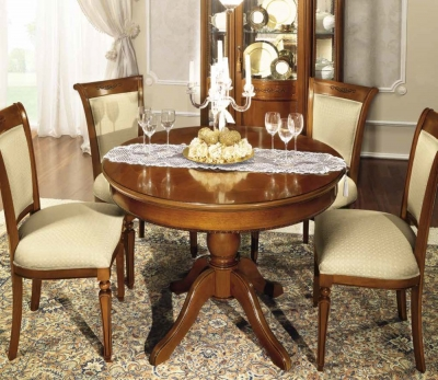 Camel Torriani Day Walnut Italian Round Extending Dining Table