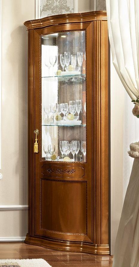 Camel Torriani Day Walnut Italian 1 Glass Door Corner Unit