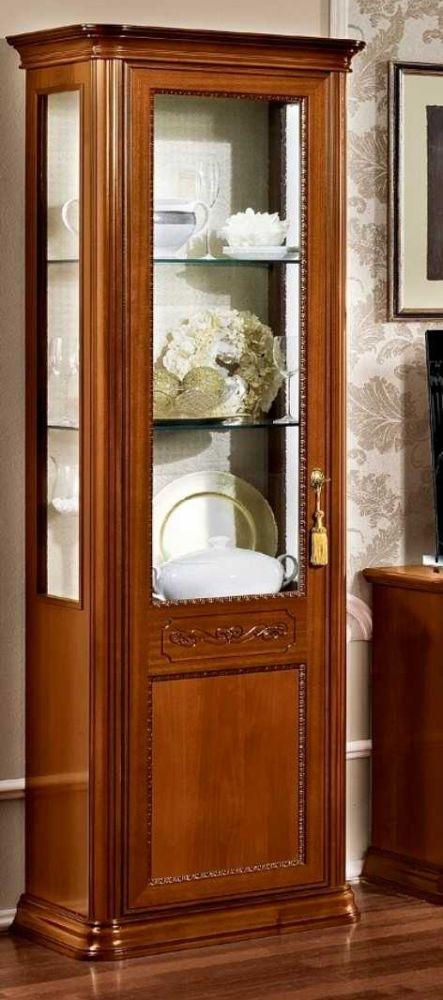 Camel Torriani Day Walnut Italian 1 Glass Door Vitrine - W 67cm