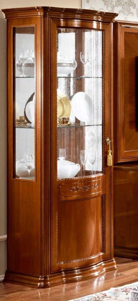 Camel Torriani Day Walnut Italian 1 Glass Door Vitrine - W 80cm