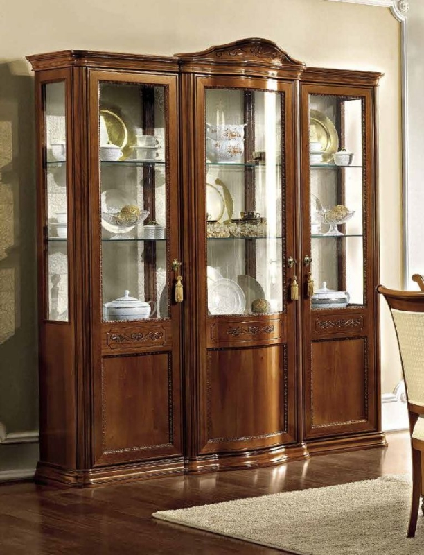 Camel Torriani Day Walnut Italian 3 Glass Door Vitrine with LED Light - 191cm