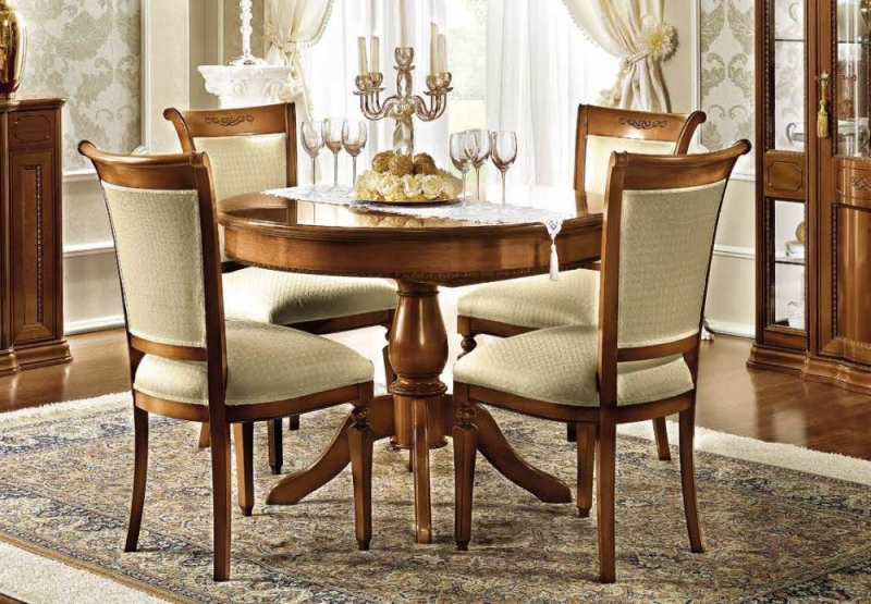 Camel Torriani Day Walnut Italian Round Extending Dining Table and Chairs