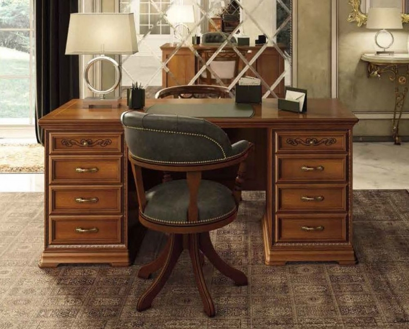 Camel Torriani Day Walnut Italian 8 Drawer Writing Desk