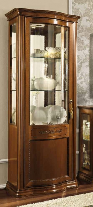 Camel Torriani Day Walnut Italian 1 Left Curved Glass Door Vitrine with LED Light