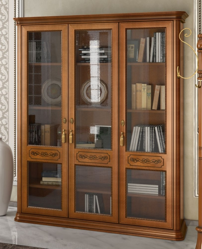 Camel Torriani Day Walnut Italian 3 Glass Door Bookcase
