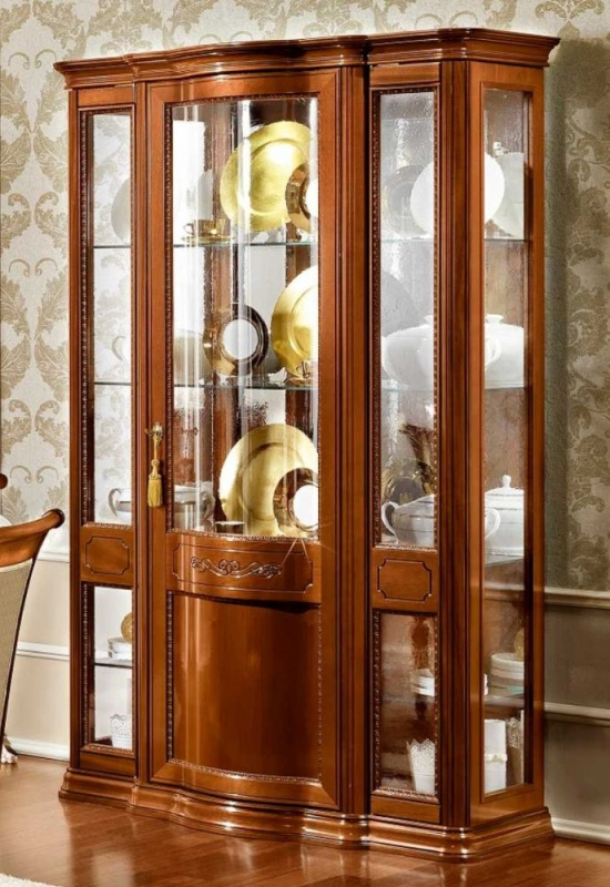 Camel Torriani Day Walnut Italian 3 Glass Door Vitrine with 3 LED Light - W 130cm