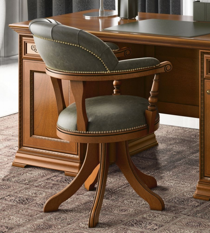 Camel Torriani Day Walnut Italian Swivel Chair