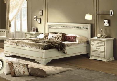 Camel Torriani Night Ivory Tiziano Italian Bed with Storage