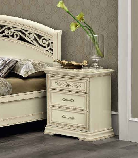 Camel Torriani Night Ivory Italian 3 Drawer Bedside Cabinet