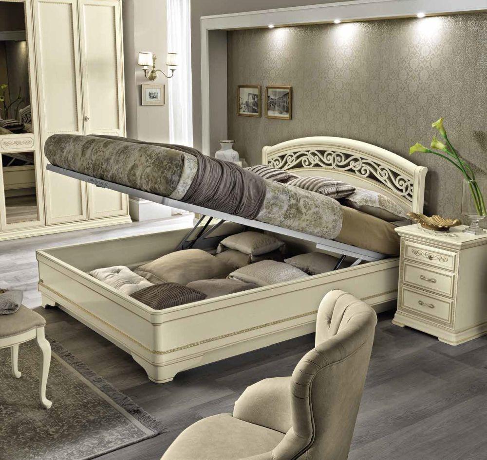 Camel Torriani Night Ivory Botticelli Italian Bed with Storage