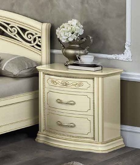 Camel Torriani Night Ivory Italian VIP 3 Drawer Bedside Cabinet