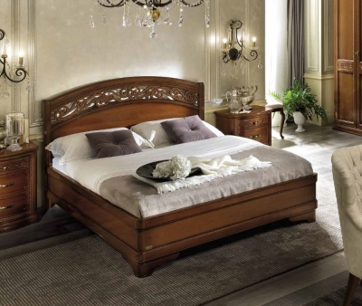Camel Torriani Night Walnut Botticelli Italian Ring Bed with Storage