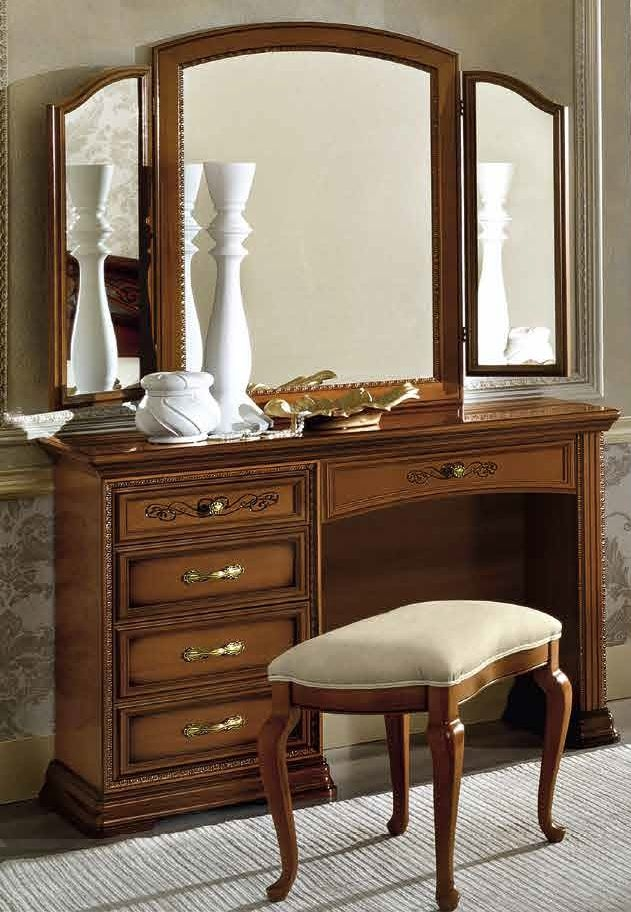 Camel Torriani Night Walnut Italian Mini Vanity 5 Drawer Dresser