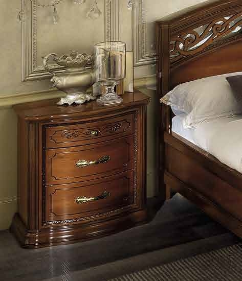 Camel Torriani Night Walnut Italian VIP 3 Drawer Bedside Cabinet