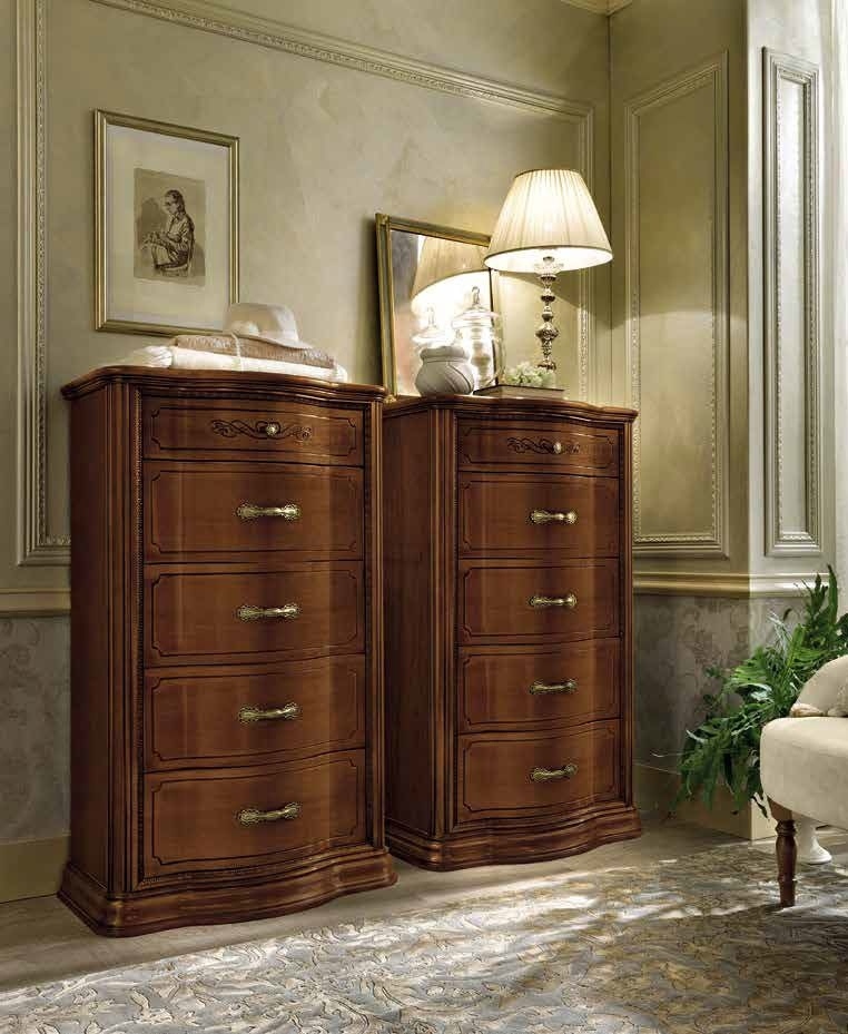 Camel Torriani Night Walnut Italian VIP 5 Drawer Chest