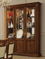 Camel Treviso Day Cherry Wood Italian 3 Door Vetrine with Glass Shelves