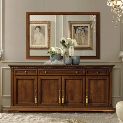 Camel Treviso Day Cherry Wood Italian 4 Door Buffet Sideboard