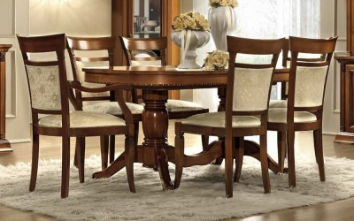 Camel Treviso Day Cherry Wood Italian Extending Dining Table and Chairs