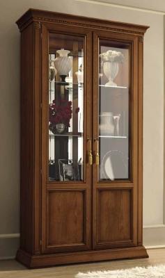 Camel Treviso Day Cherry Wood Italian Vetrine with Glass Shelves