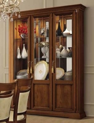Camel Treviso Day Cherry Wood Italian Large Vetrine with Glass Shelves
