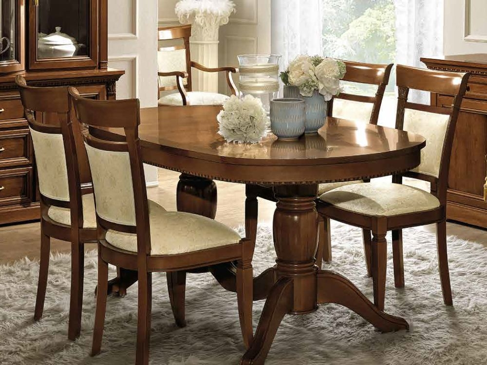best sneakers b3d52 5b99e Camel Treviso Day Cherry Wood Italian Oval Extending Dining Table and 6  Chairs