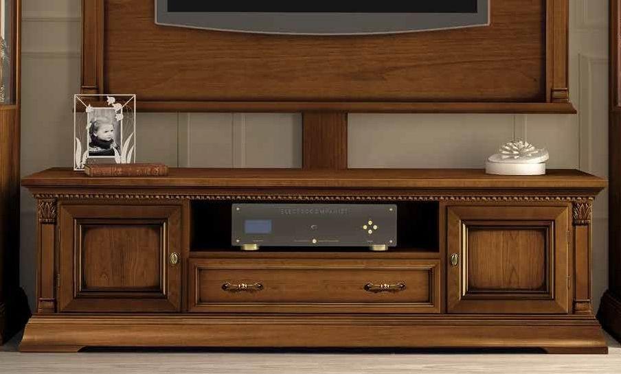 Camel Treviso Day Cherry Wood Italian 2 Door 1 Drawer Maxi TV Cabinet