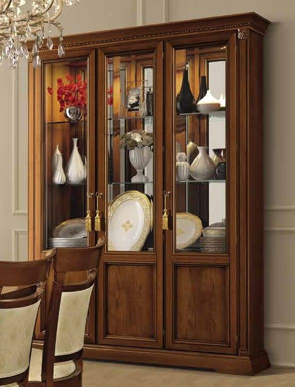 Camel Treviso Day Cherry Wood Italian 3 Door Vetrine with Glass Shelves