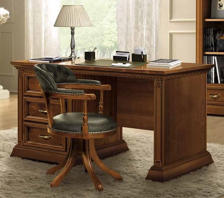Camel Treviso Day Cherry Wood Italian 3 Drawer Writing Desk