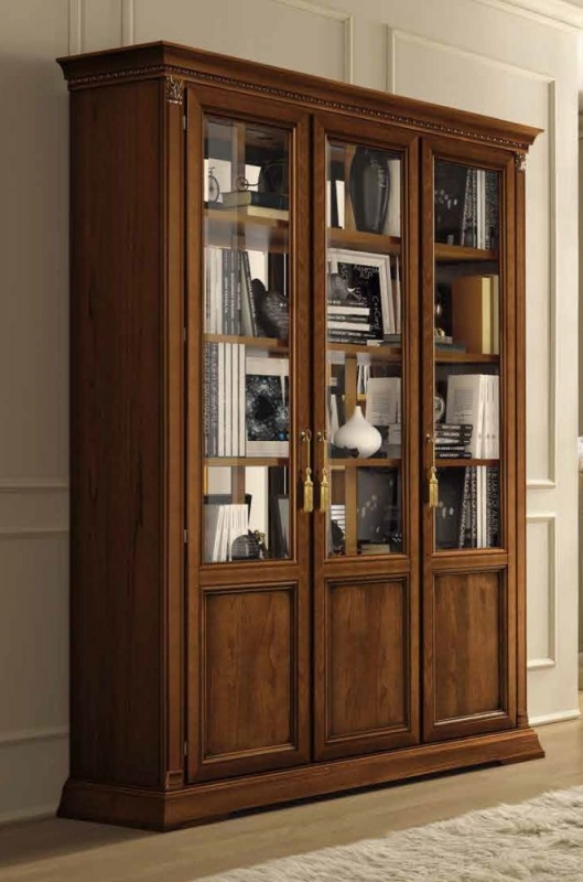 Camel Treviso Day Cherry Wood Italian 3 Door Vetrine with Wooden Shelves