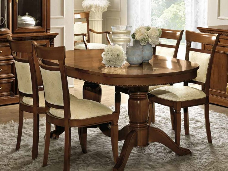 Camel Treviso Day Cherry Wood Italian 160cm Oval Extending Dining Set 6 Chairs